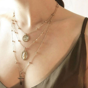 Multilayer chain necklace cross pendant jewelry
